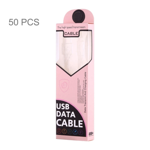 50 PCS Fashion Color Box Packing for Data / Charging Cable, Suitable Cable Length: About 1.5m(Pink)   Lead Time: 1~3 Days.