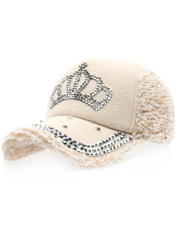 Beige Personality Imperial Crown Pattern Drilling Woolen Baseball Hat