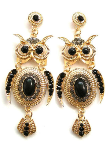 Black Gemstone Owl Drop Dangle Earrings