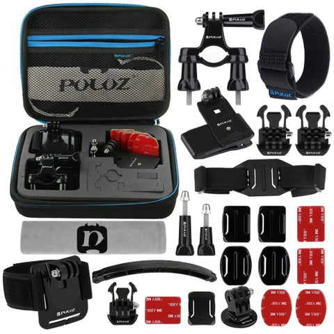 PULUZ 24 in 1 Bike Mount Accessories Combo Kit with EVA Case Wrist Strap  Helmet Strap  Extension Arm  Quick Release Buckles  Surface Mounts  Adhesive Stickers  Tripod Adapter  Storage Bag  Handlebar Mount  Screws for GoPro HERO5 4 Session 4 3  3 2 1