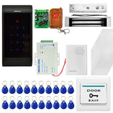 MJPT005 Door Access Control System Kits + Strike Door Lock + 20 ID Keyfobs + 10 ID Cards + Power Supply + Exit Button + Door Bell + Remote Controller