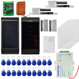 MJPT013 2 x Door Access Control System Kits + 2 x Electric Control Lock + 20 ID Keyfobs + 10 ID Cards + Power Supply + Door Bell + Remote Controller