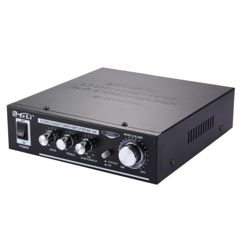 AK-104 2CH 200W + 200W HiFi Stereo Audio Amplifier with FM Radio, AC 220V / DC 12V(Black)   Lead Time: 2~5 Days.