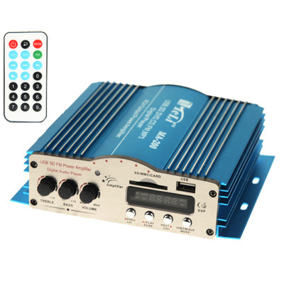 4CH Output Power Amplifier with Remote Controller, LED Display, USB / SD / MMC Card / DVD / CD / FM Radio / MP3 / Digital Player (MA-200)   Lead Time: 1~3 Days.