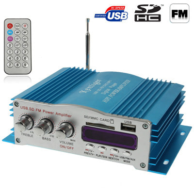 20W + 20W 4CH HiFi Multi-function Amplifier with FM Radio, Support SD / USB Flash Disk, RCA Line Input(Blue)