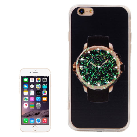 Diamond Encrusted Watch Pattern Black Back Shell TPU + Acrylic Protective Case for iPhone 6