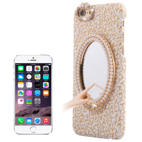 Stereoscopic Diamond Encrusted Mirror & Bowknot Plastic Case for iPhone 6(White)