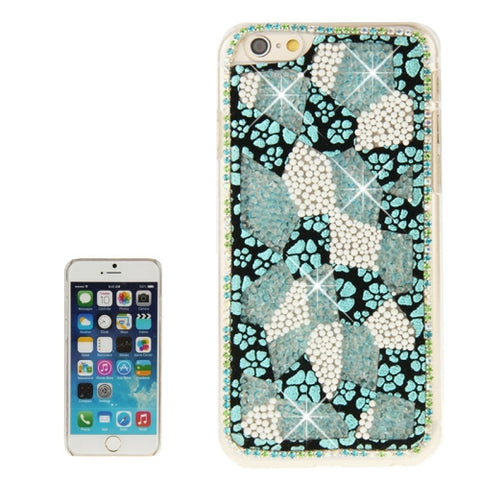 Flower & Leopard Pattern Diamond Encrusted PV Protective Case for iPhone 6(Green)