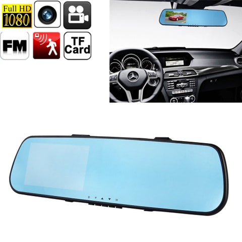 1080P HD Bluetooth Rearview Mirror Vehicle Traveling Data Video Recorder with 4.3 inch TFT LCD Screen, Support TF Card / Motion Detection / G-sensor / FM Function