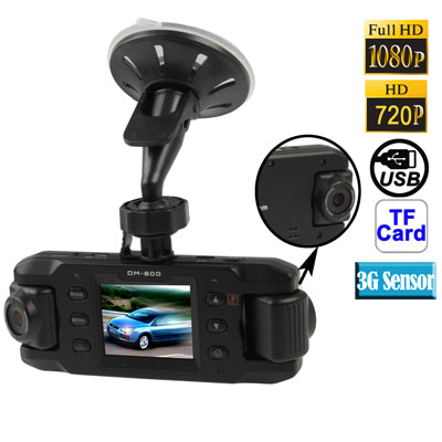 2.0 inch Screen Dual Lenses Vehicle DVR, Support TF Card / 3G-Sensor / 180-degree Rotary / 140-degree Wide View Angle / AV Out / GPS External Active Module / Anti Shake(Black)   Lead Time: 1~3 Days.