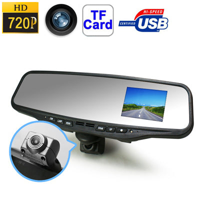 MCR-1102 HD 720P Rear View Mirror Driving Record & Air Purifier Devices, H.264 / AVI Video Format, Motion Detection Function, Support TF Card