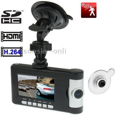 Q5 Black, 2.6 inch TFT Screen Mini Dual Camera 1920x720P Vehicle DVR with H2.64 Video format , Support HDMI Output / PC Camera / Motion Detection and SD Card
