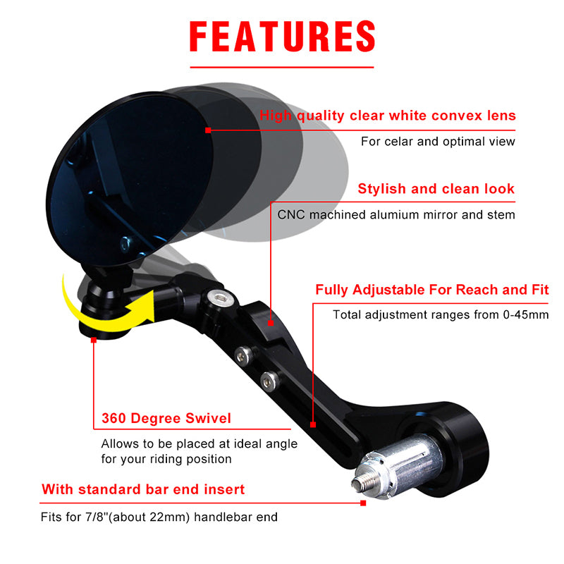 CNC Universal Motorcycle 7/8'' 22mm Rear View Side Mirror Handle Bar End BlK