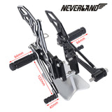 Black CNC Adjustable Rearsets Footpegs For Suzuki GSX-R 600 GSXR750 06-10 09 08 - neverland-motor