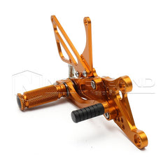 Golden Adjustable CNC Foot Pegs Rearset Rear Set Pedals For YAMAHA YZF-R1 04-06