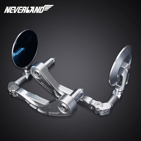 Neverland Motorcycle 7/8'' 22mm Alu Rear View Side Mirror Handle Bar End Silver