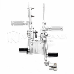 Silver Adjustable Rear Set Foot Pegs Rearset For Aprilia RSV4 (R/Factory) 09 10
