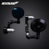 CNC Universal Motorcycle 7/8'' 22mm Rear View Side Mirror Handle Bar End BlK - neverland-motor