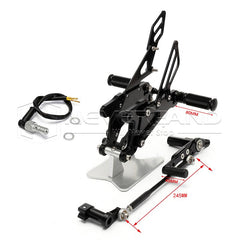 Adjustable CNC Foot Pegs Rearset Rear Set Pedals For YAMAHA YZF-R1 2007-08 Black