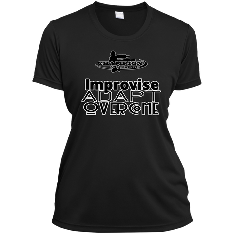 Ladies Short Sleeve Moisture-Wicking Shirt - BB Improvise adapt overcome