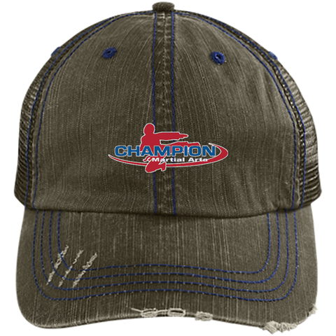 Distressed Unstructured Trucker Cap - Champion Logo Embroidered
