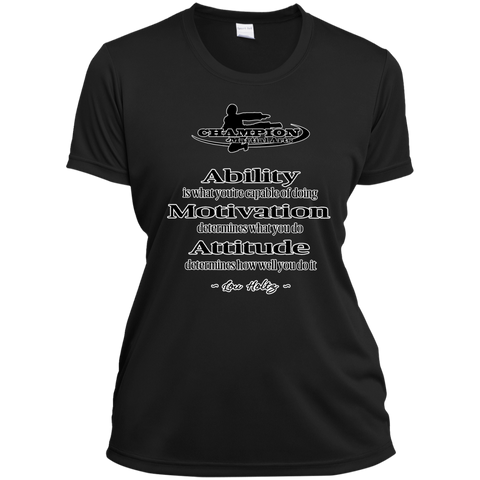 Ladies Short Sleeve Moisture-Wicking Shirt - BB Attitude determines how well you do it.