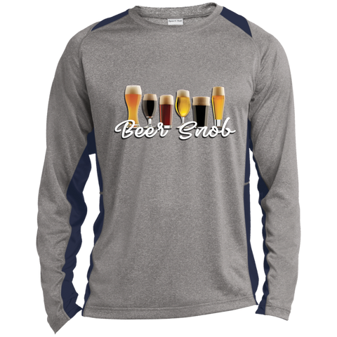 Long Sleeve Heather Colorblock Poly Graphic T-shirt - B..r snob