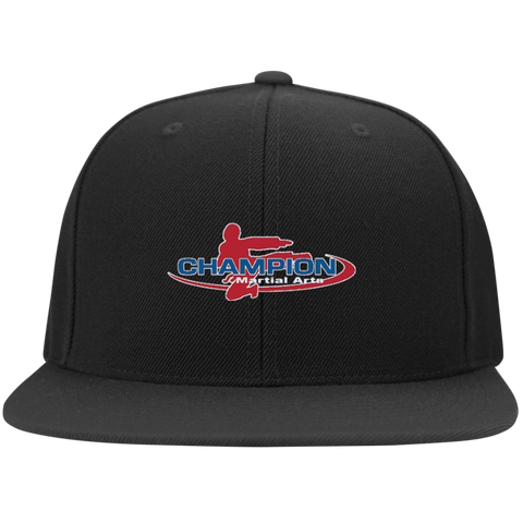 Flat Bill High-Profile Snapback Hat - Champion Logo Embroidered