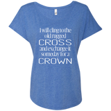 Next Level Ladies Triblend Dolman Sleeve - I will cling to the old rugged Cross