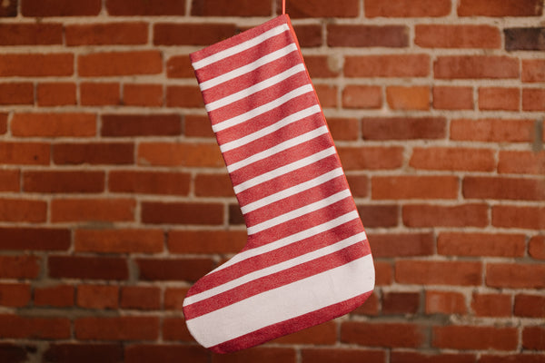 Red & White Thin Stripes Christmas Stocking