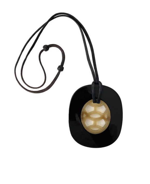 Hermes Large Resin Pendent on Adjustable Leather Cord Necklace