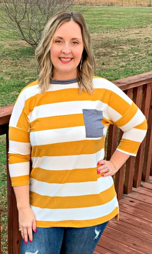 Must Have Mustard/Stripe Top
