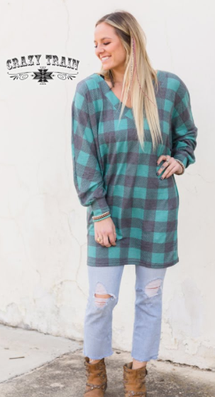 Holly Hop Top - Turquoise Plaid