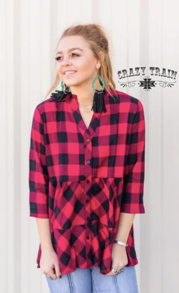 SE- Penny Plaid Ruffle Top - Red/Black Plaid