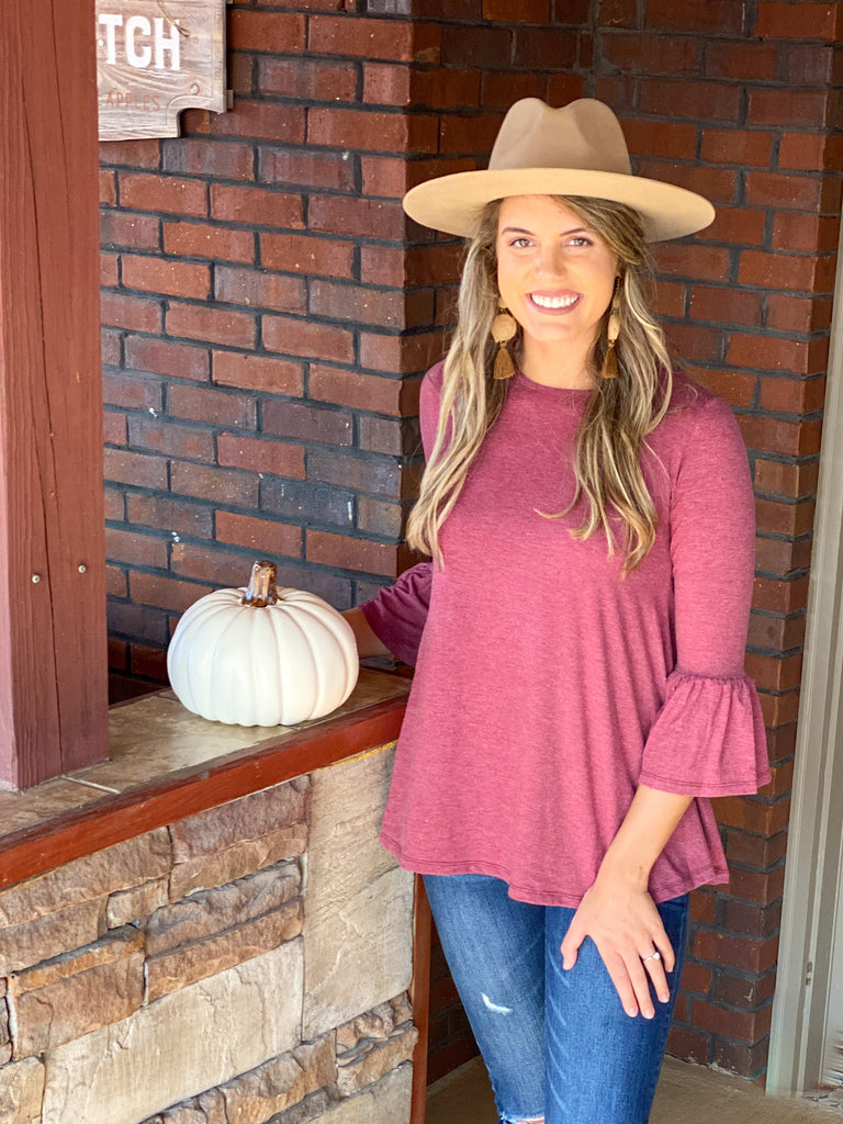 Southern Belle Long Sleeve Top- Dk Mauve