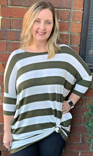 Casual Chic Striped Top- Olive