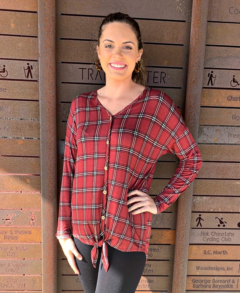 Raspberry Plaid Tie Front Top