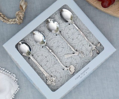 "New Emporium ""FLEUR"" Vintage Teaspoon Set of 4 Stainless Steel 14X3X0.5CM"