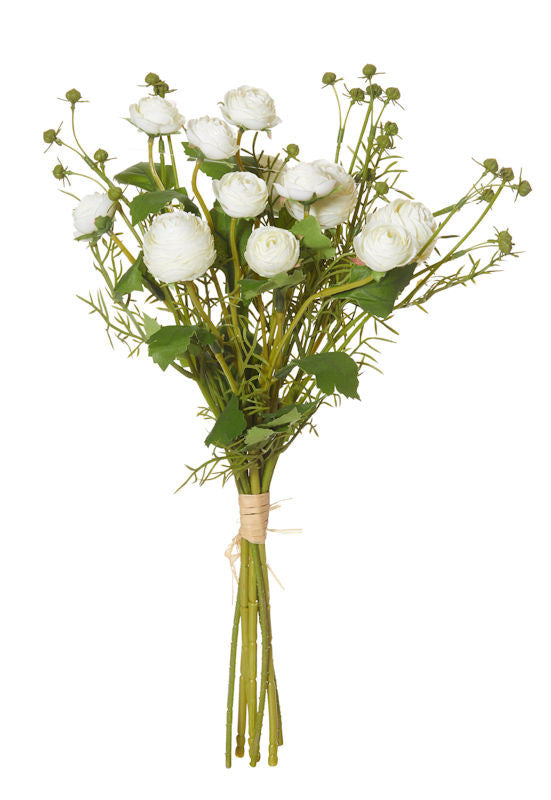 Rogue Artificial Flower Ranunculus Bouquet 44 CM White