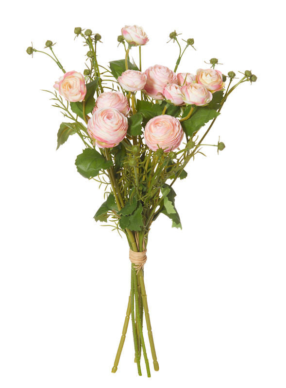 Rogue Artificial Flower Ranunculus Bouquet 44 CM Pink