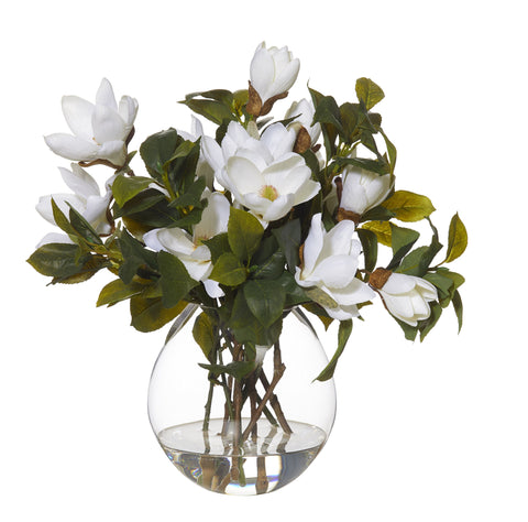 "Rogue Artificial Flower Arrangement w/ Water White ""Magnolia Mix Cannonball Vase"" 41 CM"