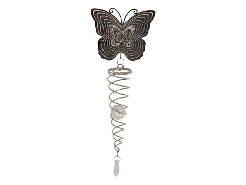 Brand New Silver Butterfly Crystal Spiral Spinner Sun catcher L 60 cm