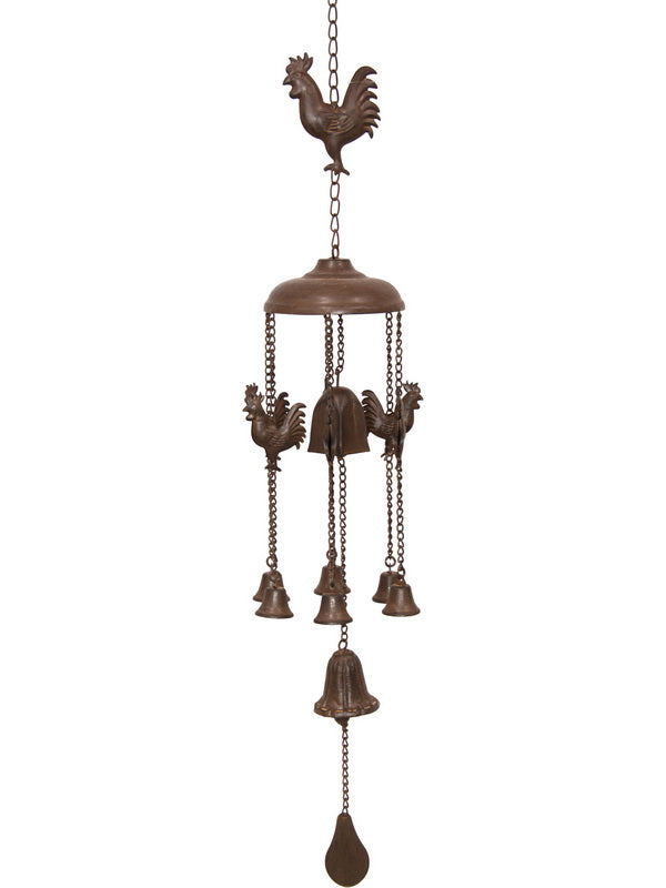 Rustic Rust Metal Cast Iron Rooster Bell Wind Chime Vintage style 83 cm