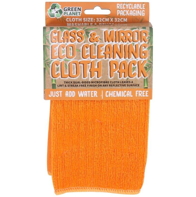 Green Planet Eco Cleaning Cloth Twin Pack for Glass & Mirror in Orange 32 x 32 cm