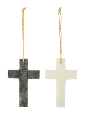 "Amalfi ""Cross"" Sculpture in Marble Black or White 2 choices 10 x 15 cm"