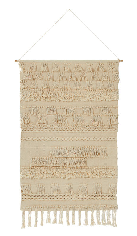 "Amalfi Creamy White ""Lunar"" Wall Hanging Natural Cotton 75 x 105cm"