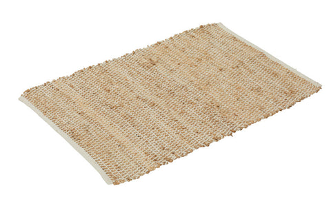 "Amalfi ""Orson"" Utility Rug in Natural Jute & Cream Cotton 60 x 90 cm"