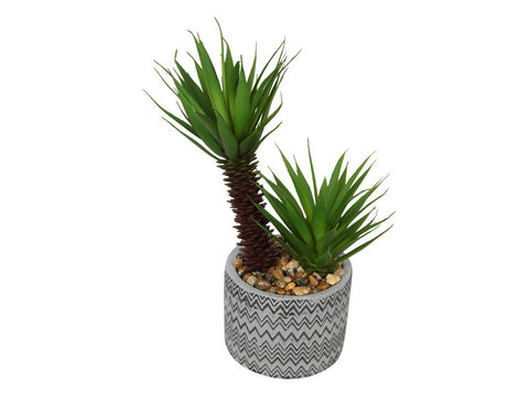 "Artificial Plant Arrangement Desk Shelf Decor ""Moroccan Yucca"" in Concrete Pot 27 cm"