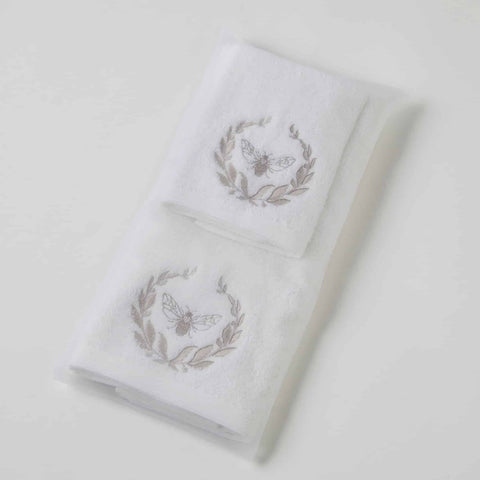 Pilbeam Paisley Embroid  Hand & Face Towel w Organza Bag Gift Set