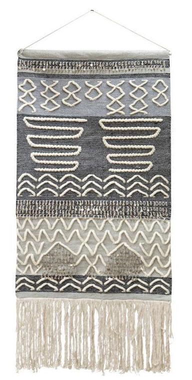 "Amalfi Creamy Grey Blue ""Roach"" Wall Hanging Wool Cotton 80 x 130 cm"